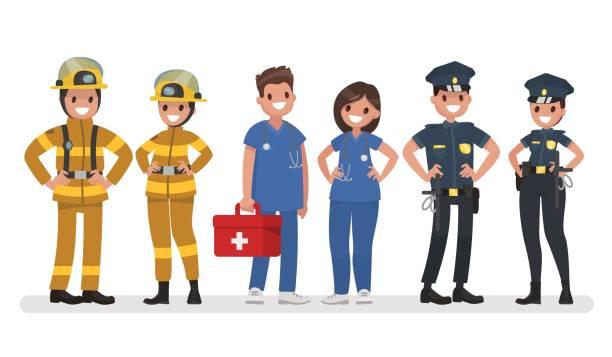 polizei, feuerwehr und krankenwagen. notdienste. vektor-illustration in einem flachen stil - feuerwehrmann stock-grafiken, -clipart, -cartoons und -symbole