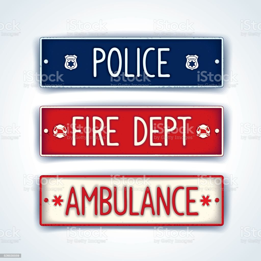 Police, fire department, ambulance car signs vector art illustration