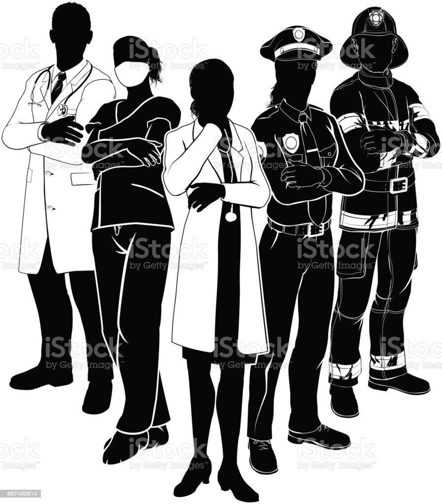 Police Fire Doctor Emergency Team Silhouettes vector art illustration