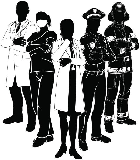 illustrazioni stock, clip art, cartoni animati e icone di tendenza di police fire doctor emergency team silhouettes - polizia