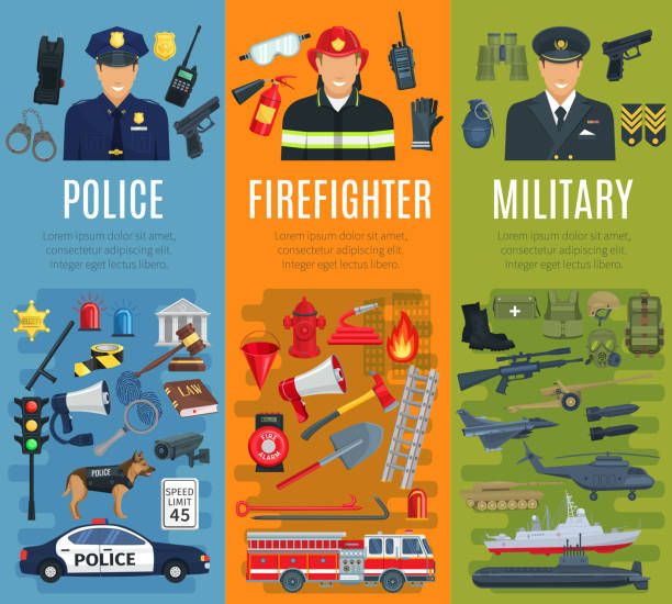 police, firefighter and military profession banner - police officer stock illustrations, clip art, cartoons, & icons