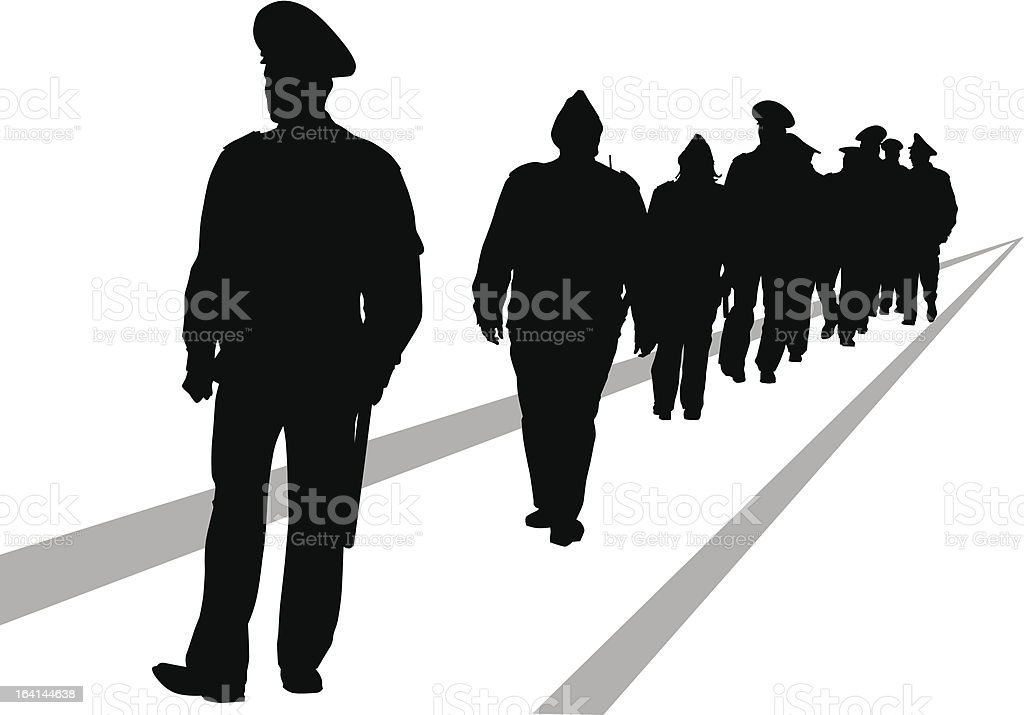 Police force vector art illustration