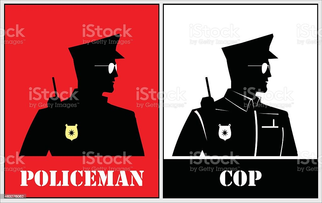 Police. half body silhouette of a police. vector art illustration