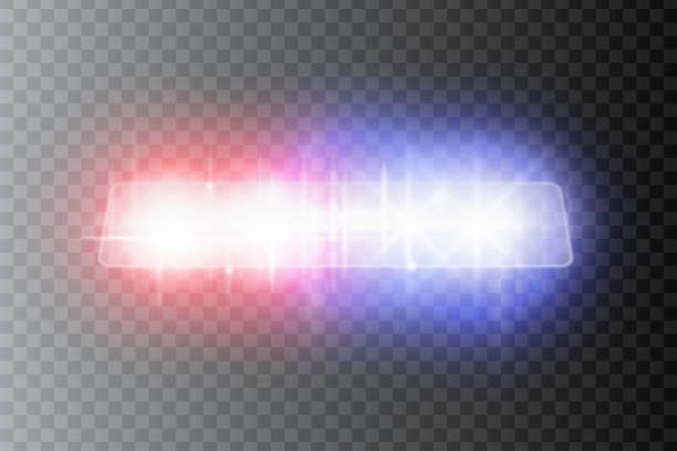 stockillustraties, clipart, cartoons en iconen met politie koplampen fakkels en sirene bij de nacht weg. speciale rode en blauwe lichtbundels. vector illustratie. - mist donker auto