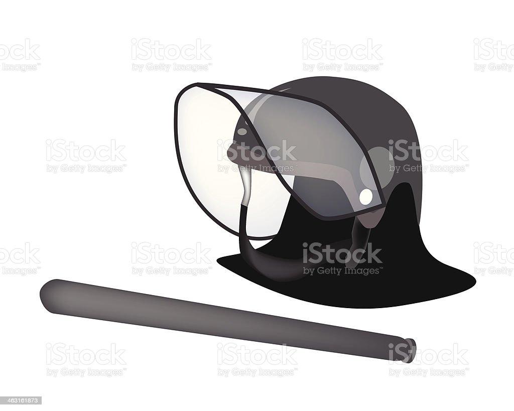 Polizeihelm und Gummiknüppel auf weißem Hintergrund – Vektorgrafik