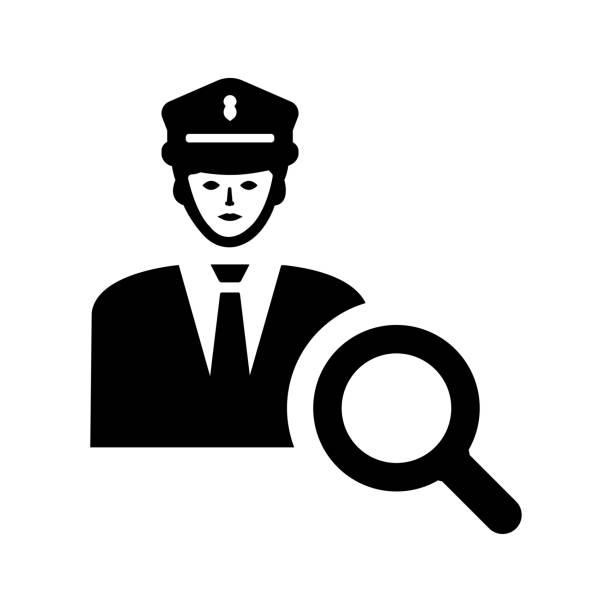 경찰 도움말 아이콘 / 검은 색 - 모자 모자류 stock illustrations