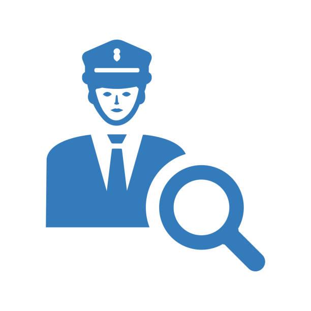 illustrations, cliparts, dessins animés et icônes de icône d'aide de police / vecteur bleu - commissariat