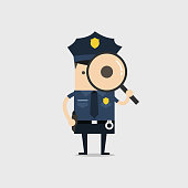 Police holding a magnifying glass. Police officer and inspector cartoon.