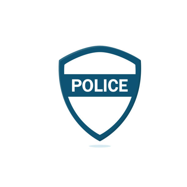 illustrations, cliparts, dessins animés et icônes de design plat de police icône illustration - bureau police