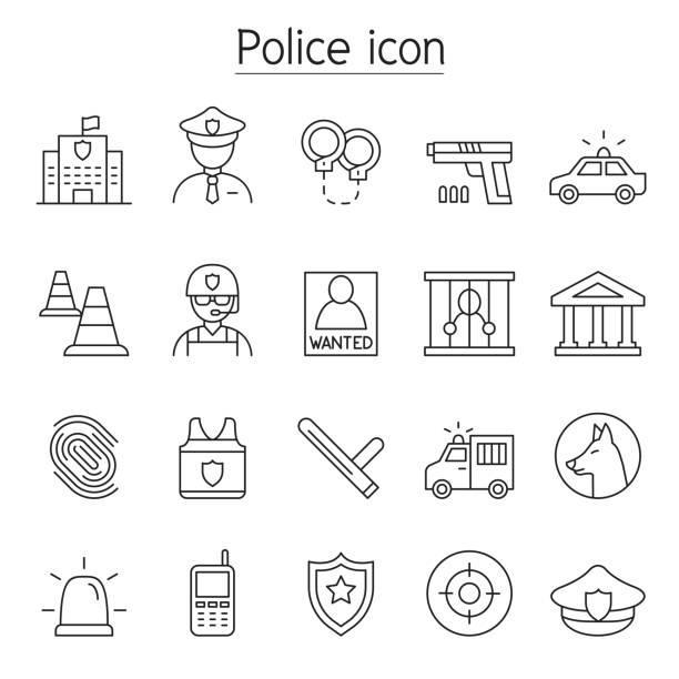 illustrations, cliparts, dessins animés et icônes de icône de police set dans le modèle mince de ligne - commissariat