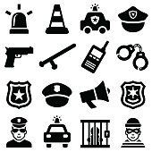Police icon collection - vector silhouette illustration
