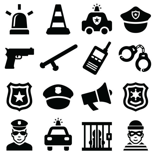 illustrazioni stock, clip art, cartoni animati e icone di tendenza di police icon - polizia
