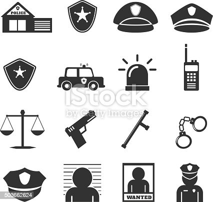 Police Icon Stock Vector Art & More Images of Adult