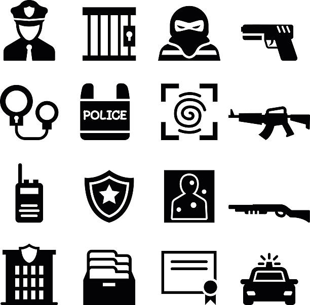 police icon - police officer stock illustrations, clip art, cartoons, & icons
