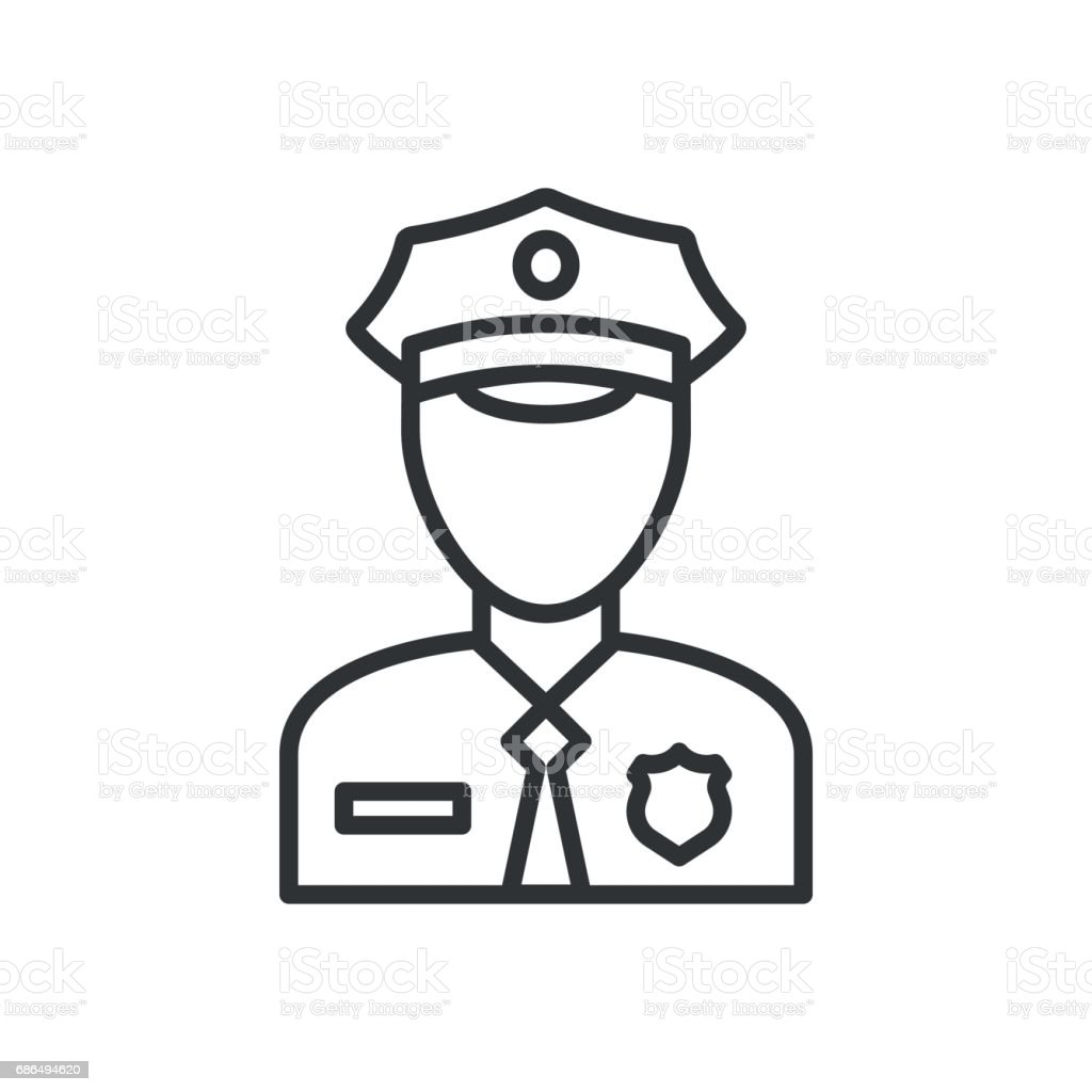La police vectorielle de l'icône. Illustration de policier officier avatar - Illustration vectorielle