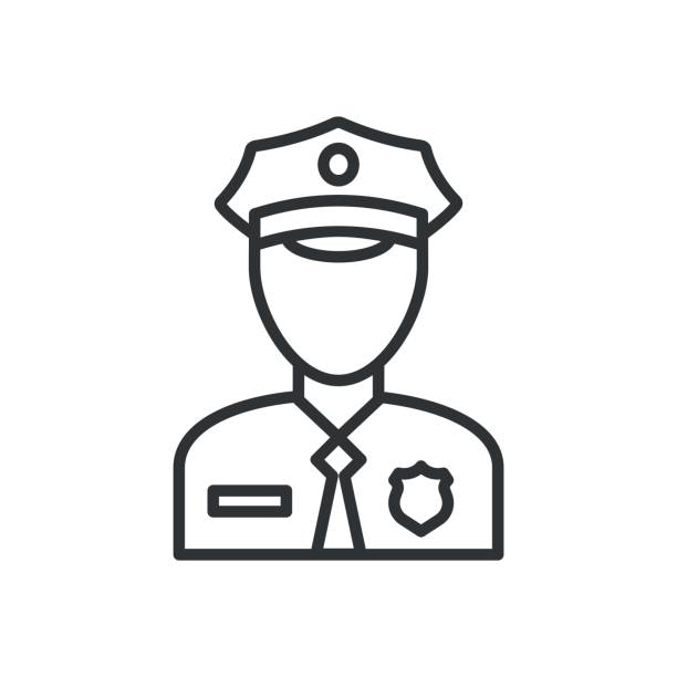 illustrazioni stock, clip art, cartoni animati e icone di tendenza di police icon vector. policeman officer avatar illustration - polizia