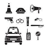 Police Icons Set, Monochrome