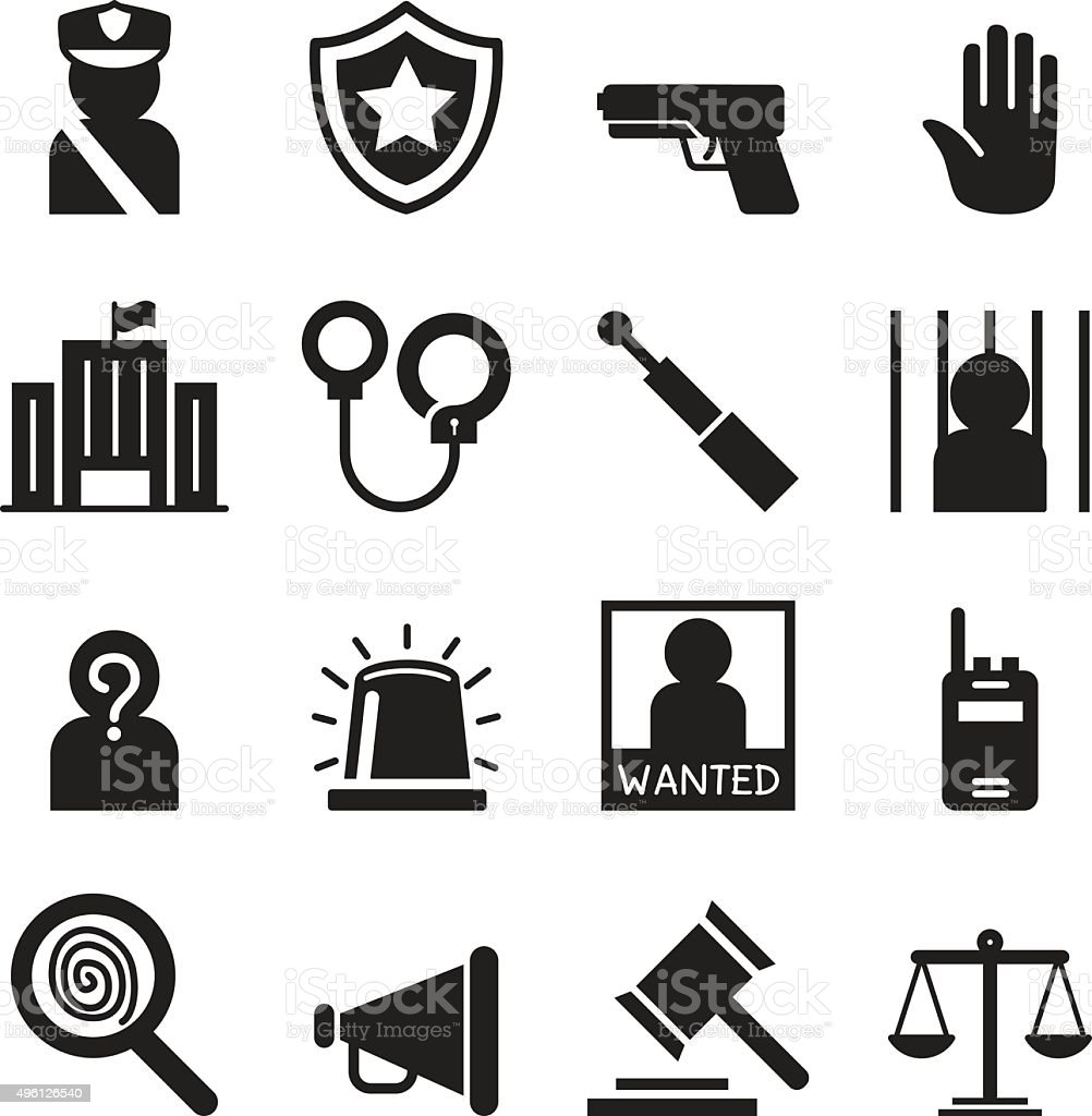 Police icons set Silhouette vector art illustration
