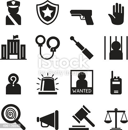 Police Icons Set Silhouette Stock Vector Art & More Images