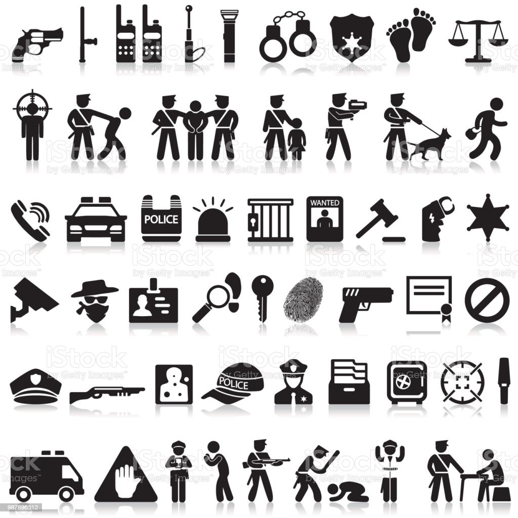 Police icons set. vector art illustration