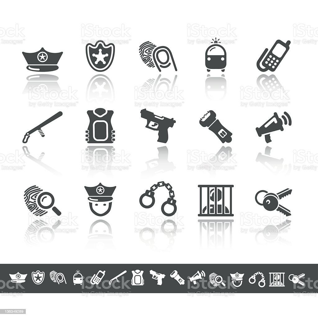 Police Icons | Simple Grey royalty-free stock vector art