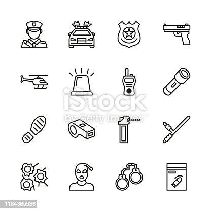 istock Police Icons Thin Line Set 1184365936
