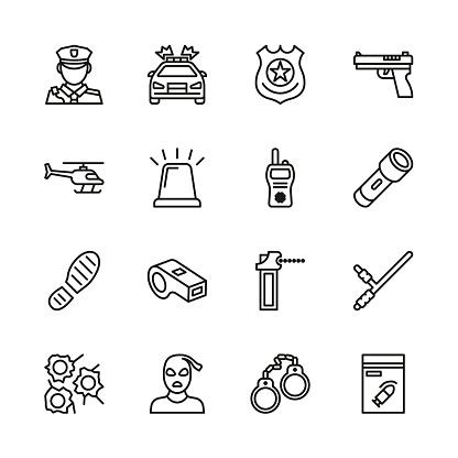 Police Icons Thin Line Set