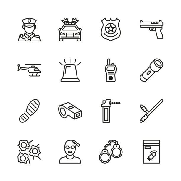 ikony policji thin line set - policja stock illustrations