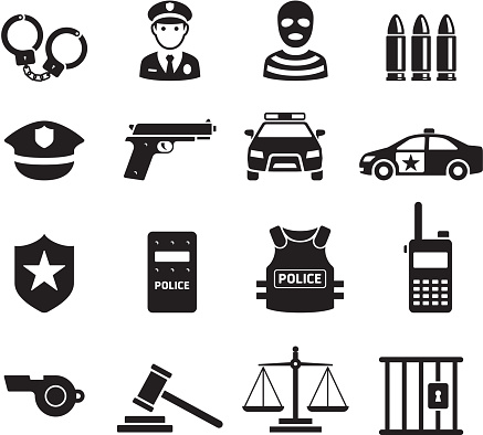 Police icons. Vector illustrations.
