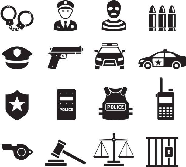 ikony policji. ilustracje wektorowe. - policja stock illustrations