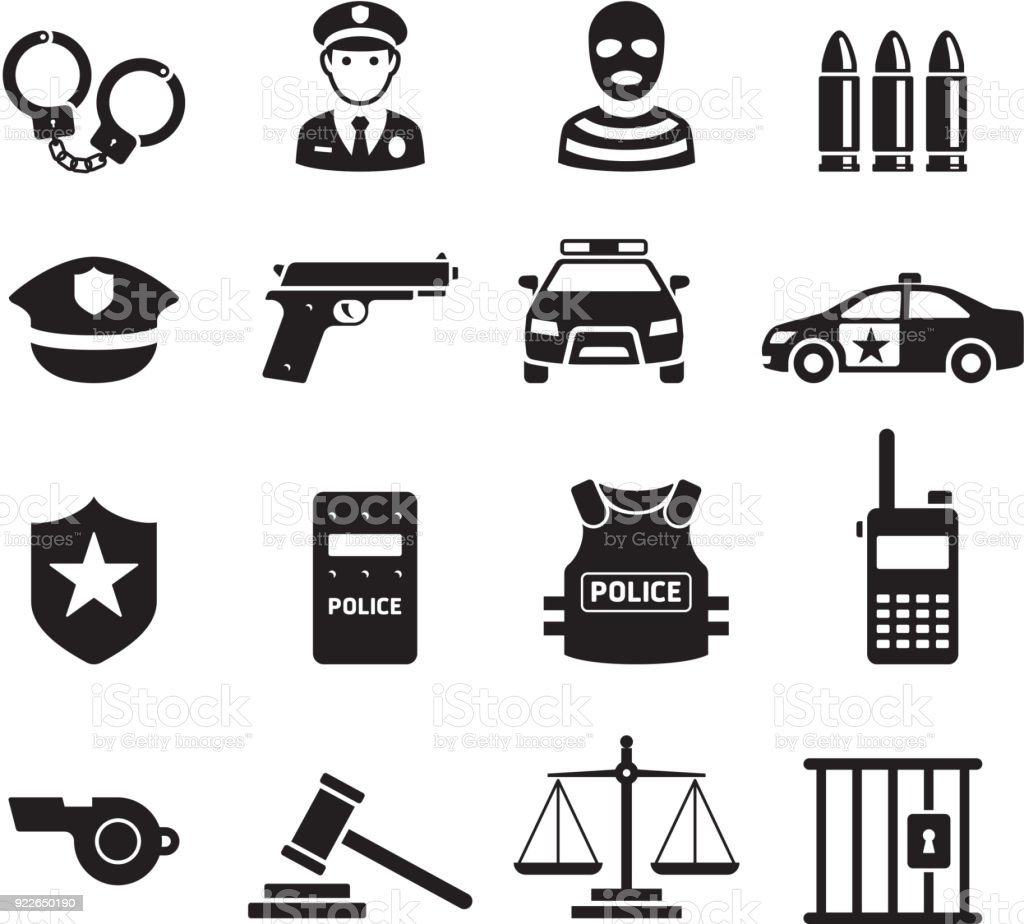 Icônes de la police. Illustrations vectorielles. - Illustration vectorielle