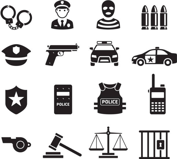 illustrazioni stock, clip art, cartoni animati e icone di tendenza di police icons. vector illustrations. - polizia