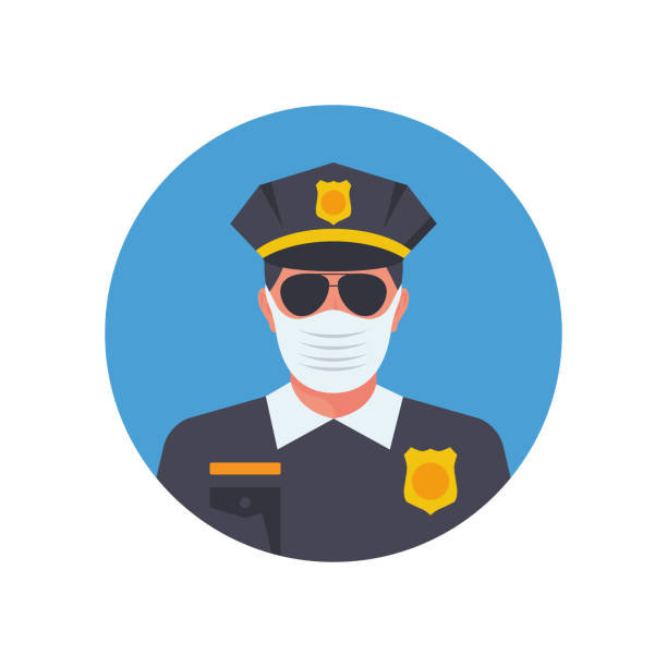 医療マスクの警察。顔のマスクで将校のアバター - corona newyork点のイラスト素材/クリップアート素材/マンガ素材/アイコン素材