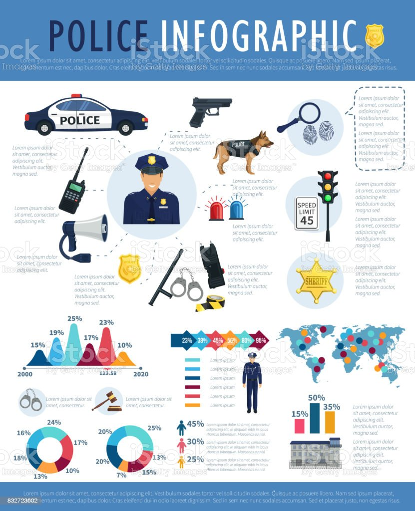 Police infographic for crime, law, justice design vector art illustration