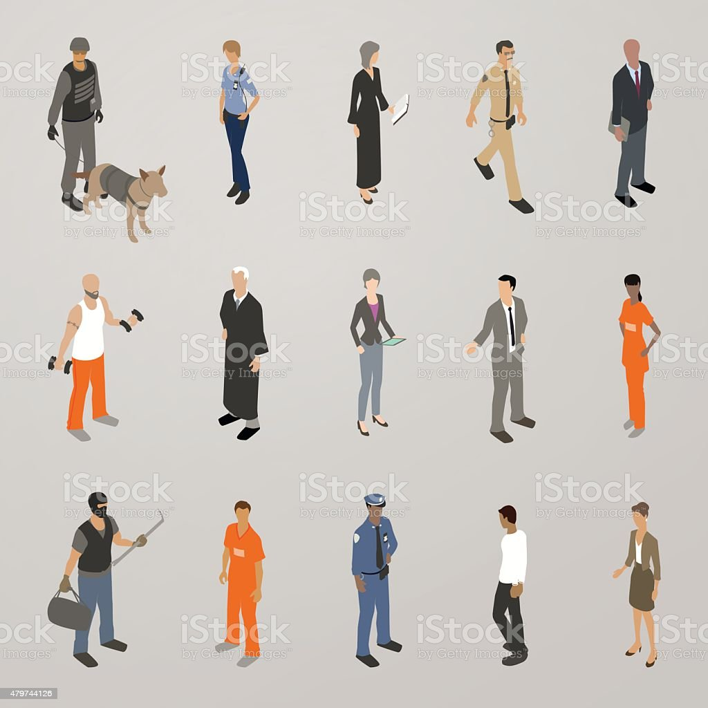 Police Judges Lawyers Criminals Illustration vector art illustration