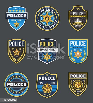 istock Police labels. Policeman law enforcement badges. Sheriff, marshal and ranger logo, police star medallions, security federal agent vector insignia 1197902953
