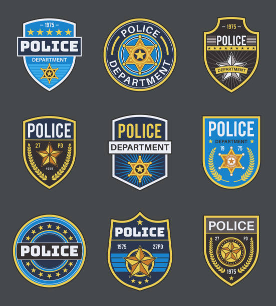 illustrazioni stock, clip art, cartoni animati e icone di tendenza di police labels. policeman law enforcement badges. sheriff, marshal and ranger logo, police star medallions, security federal agent vector insignia - polizia