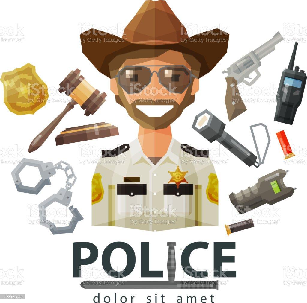 police, law icons. set of elements - gavel, flashlight, shocker vector art illustration