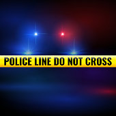 Police lights and tape. Police line isolated criminal accident zone. Vector illustration