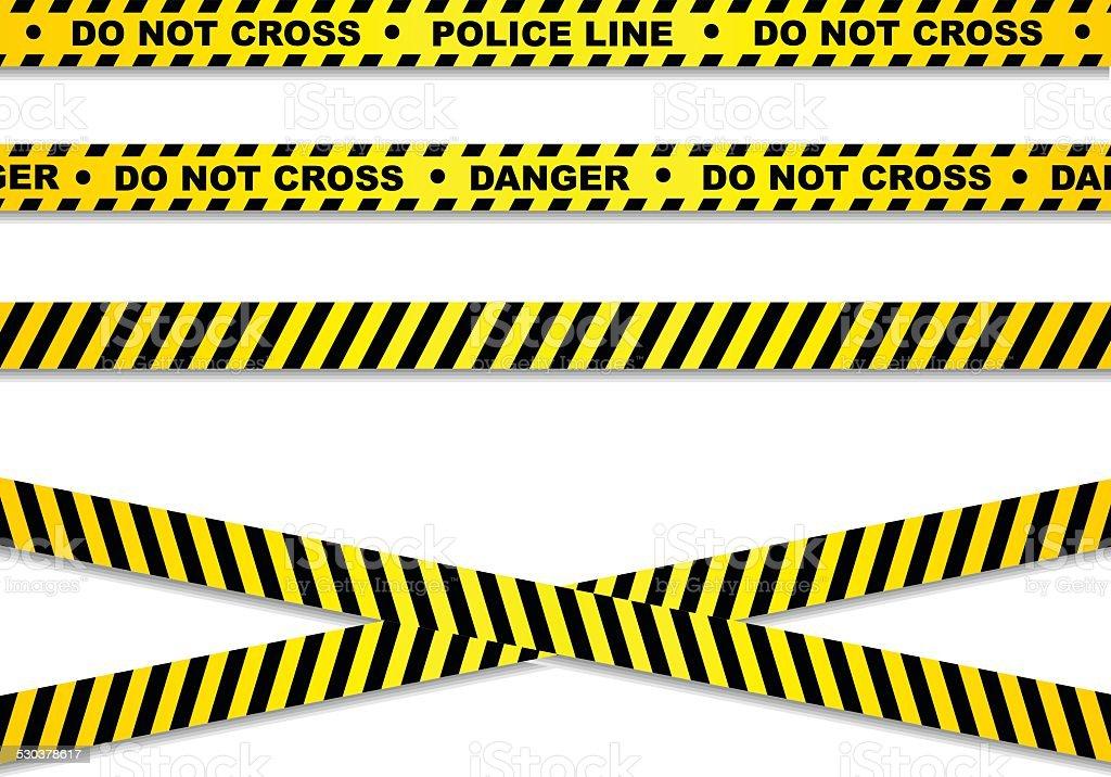 Police line and danger tapes vector art illustration