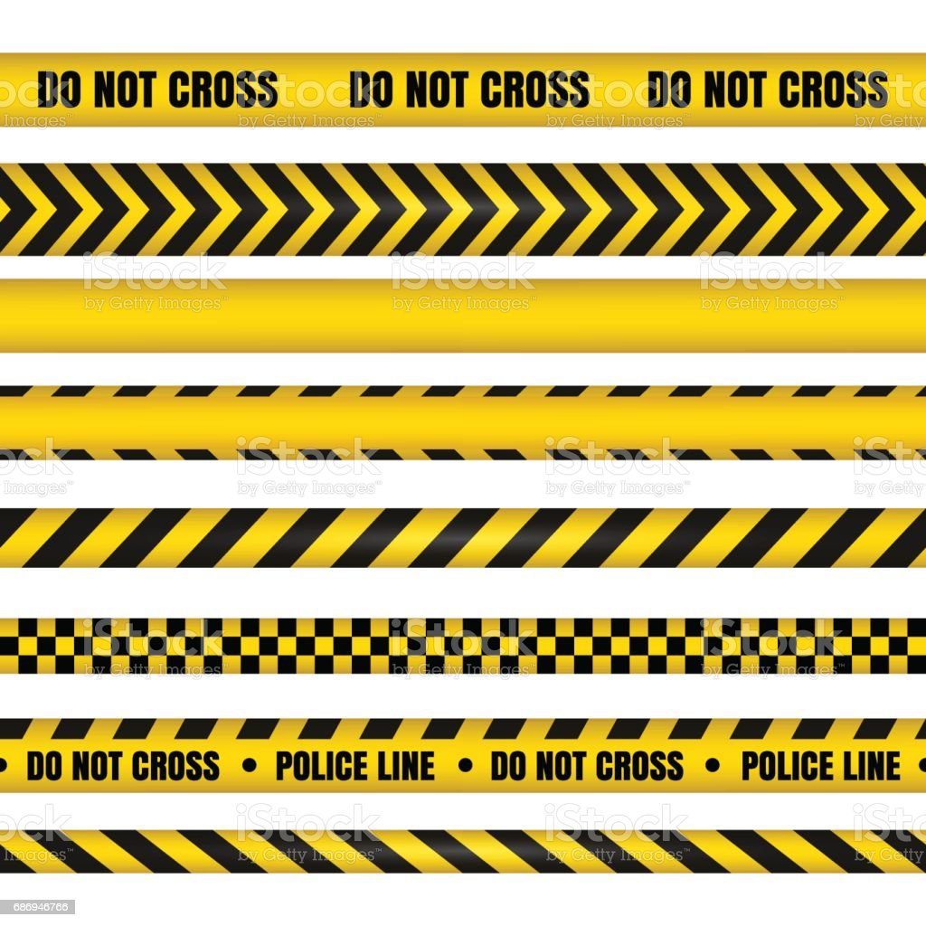 Police line and do not cross ribbons. Danger tapes.