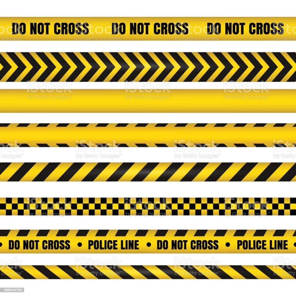 Police line and do not cross ribbons. Danger tapes. vector art illustration