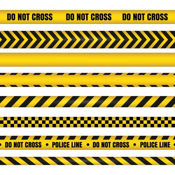 Police line and do not cross ribbons. Danger tapes. Police line and do not cross ribbons. Yellow danger tapes. Horizontal seamless borders. Vector illustration crime scene stock illustrations