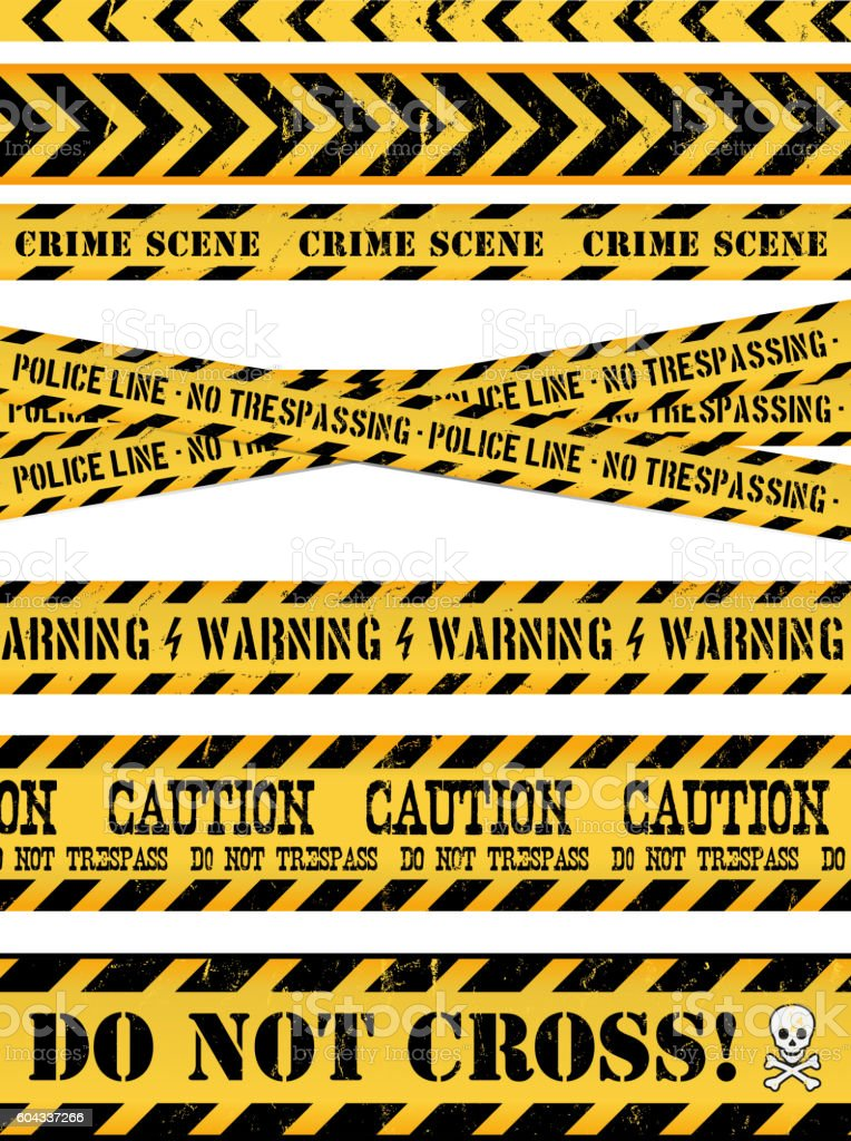 Police Line, Crime Scene And Warning Tapes vector art illustration