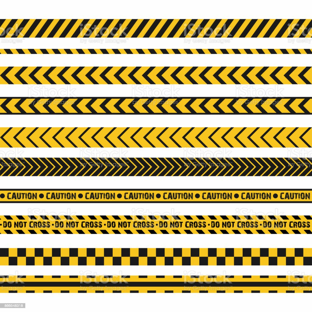 Police line, crime scene, do not cross vector seamless stripes. Set of yellow and black inhibition lines vector art illustration