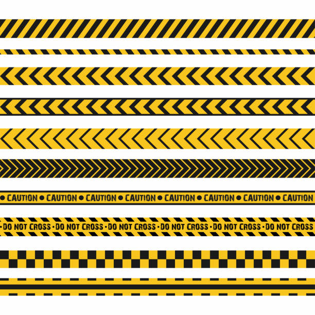 Police line, crime scene, do not cross vector seamless stripes. Set of yellow and black inhibition lines Police line, crime scene, do not cross seamless stripes. Set of yellow and black inhibition lines. Vector crime scene stock illustrations