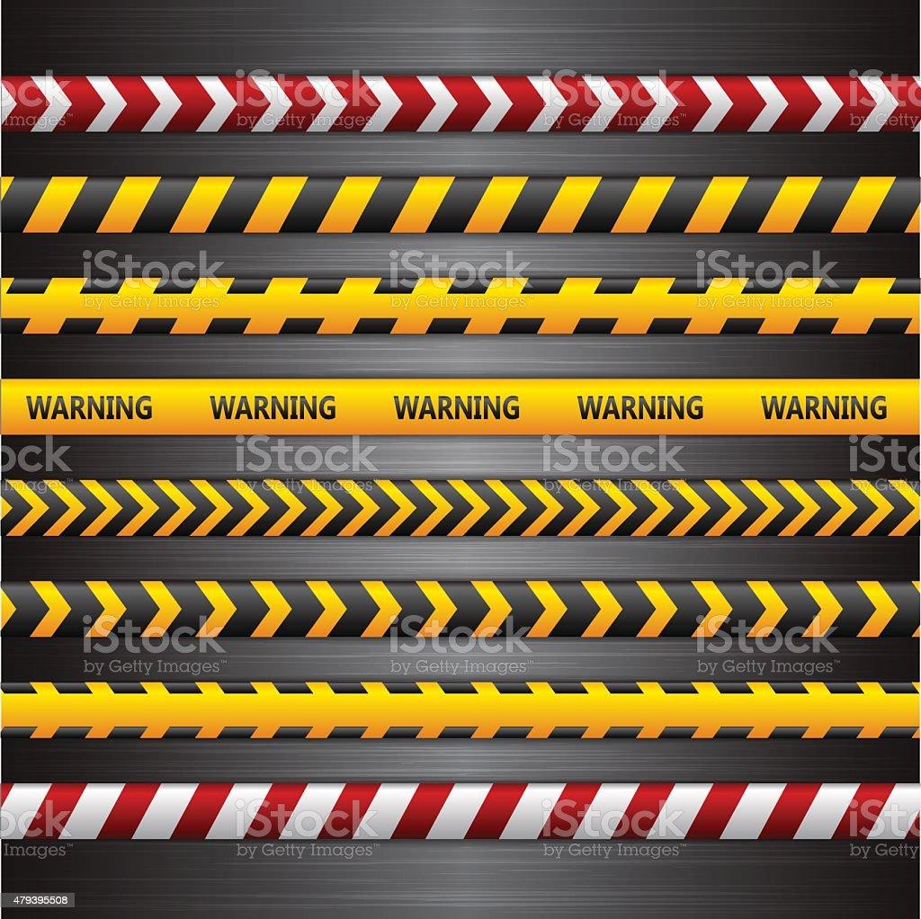 Police line, danger tapes on the dark metall background. Vector vector art illustration