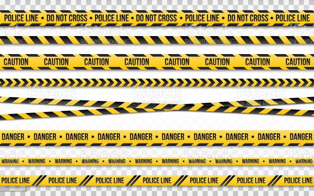 Police line do not cross isolated on transparent backdrop. Police tape set. Restriction zone or crime place. Black and yellow striped on white background. Vector illustration - Royalty-free Abstrato arte vetorial