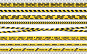 istock Police line do not cross isolated on transparent backdrop. Police tape set. Restriction zone or crime place. Black and yellow striped on white background. Vector illustration 1130559327