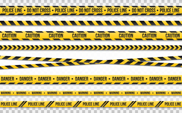 Police line do not cross isolated on transparent backdrop. Police tape set. Restriction zone or crime place. Black and yellow striped on white background. Vector illustration Police line do not cross isolated on transparent backdrop. Police tape set. Restriction zone or crime place. Black and yellow striped on white background. Vector illustration. crime stock illustrations